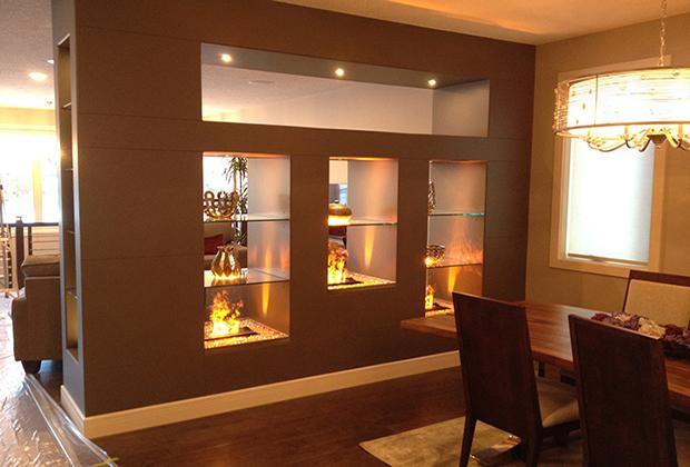 3D White Stone 3 dimensional fireplace 5