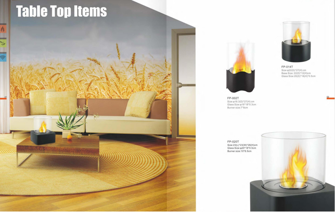 Stock table Top Series real fire Bio Ethanol fireplace