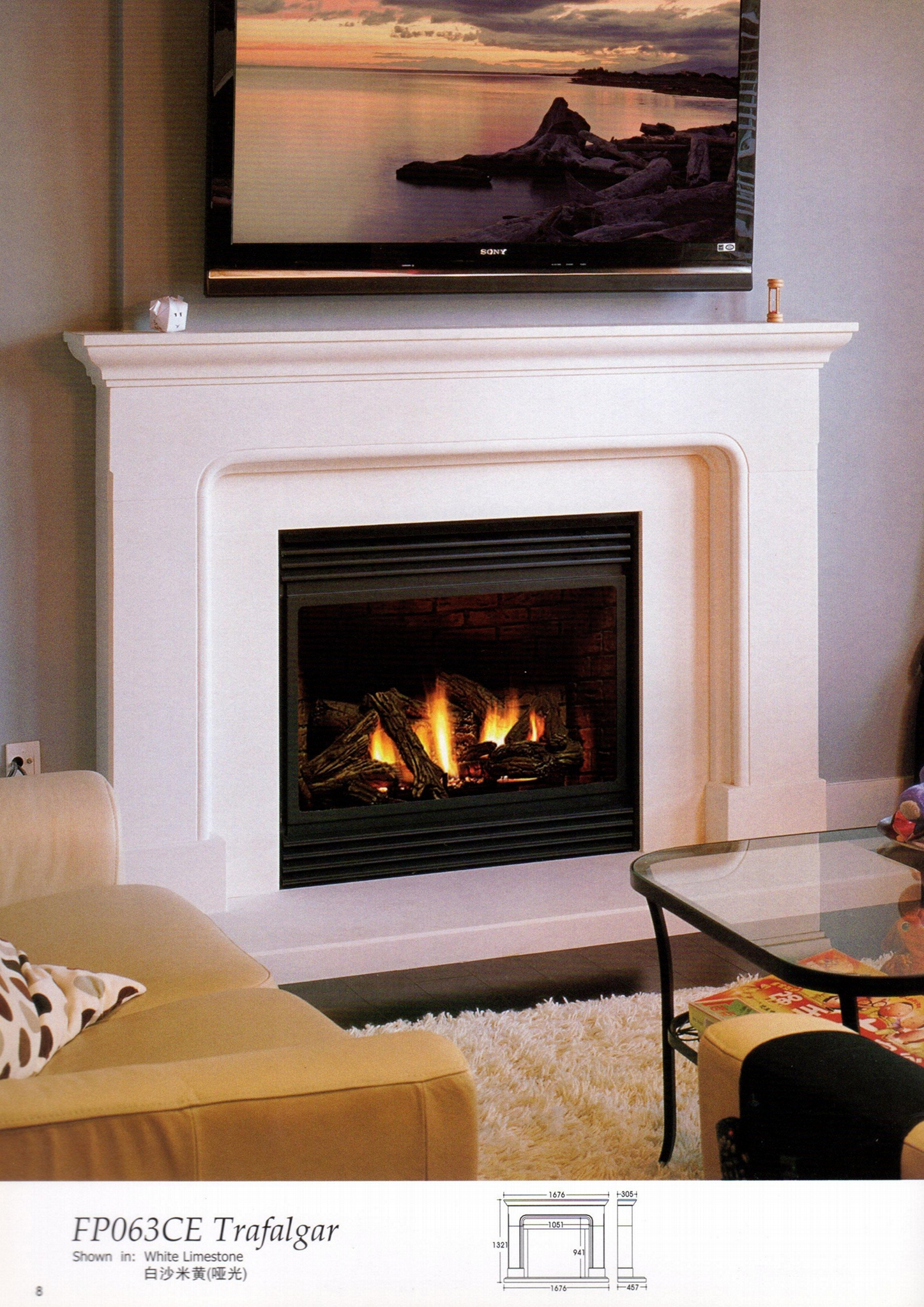 White Wooden fireplace combination(Mantel and heater)