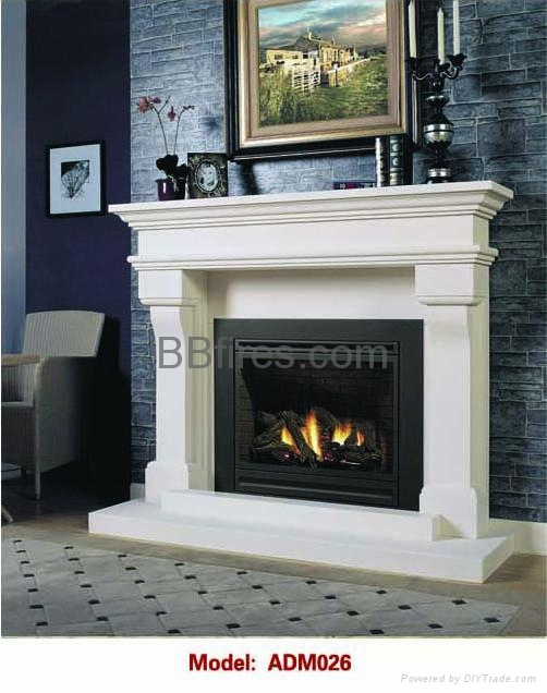 Stock white wooden fireplace combination mantel and heater for Fireplace material options