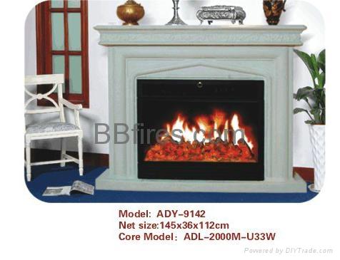 (現貨)白色木壁爐組合 9