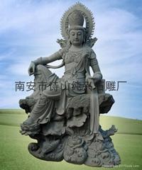 佛像石雕自大觀音大士