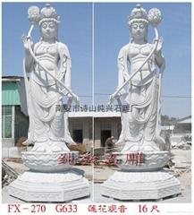 寺廟石雕蓮花觀音像