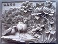 Landscape mural relief sculpture bird