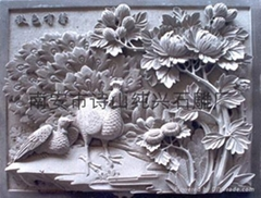 Landscape mural relief sculpture bird