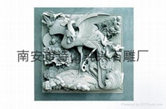 石材雕刻单凤牡丹浮雕