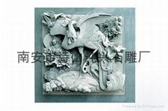 石材雕刻單鳳牡丹浮雕