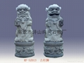 Lion lion carving ancient bluestone columns