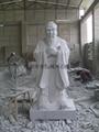 Three-dimensional stone carving granite statue of Confucius