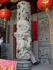 青石寺廟雕刻單帶八仙龍柱