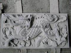 石材装饰雕刻浮雕麒麟堵石