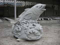 Granite stone carved animal sculptures carp