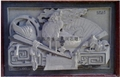 Granite stone temple relief mural