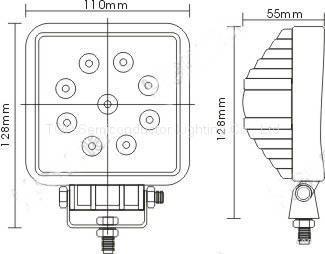 """4.3"""" 方形27W LED工作灯作业灯工程灯检修灯泛光灯车灯汽车灯越野灯 2"""