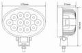 "6.8"" 36W CREE 椭圆形 LED 工作灯泛光灯沙滩灯越野灯驾驶灯 3"