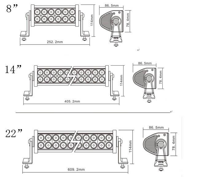 双排台湾晶元灯珠直条工作灯泛光聚光驾驶灯越野灯4WD ATV SUV  3