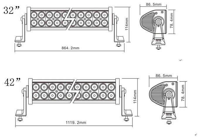 双排台湾晶元灯珠直条工作灯泛光聚光驾驶灯越野灯4WD ATV SUV  4