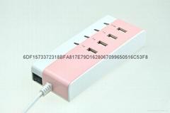 4 USB口排插式桌面开关充电器