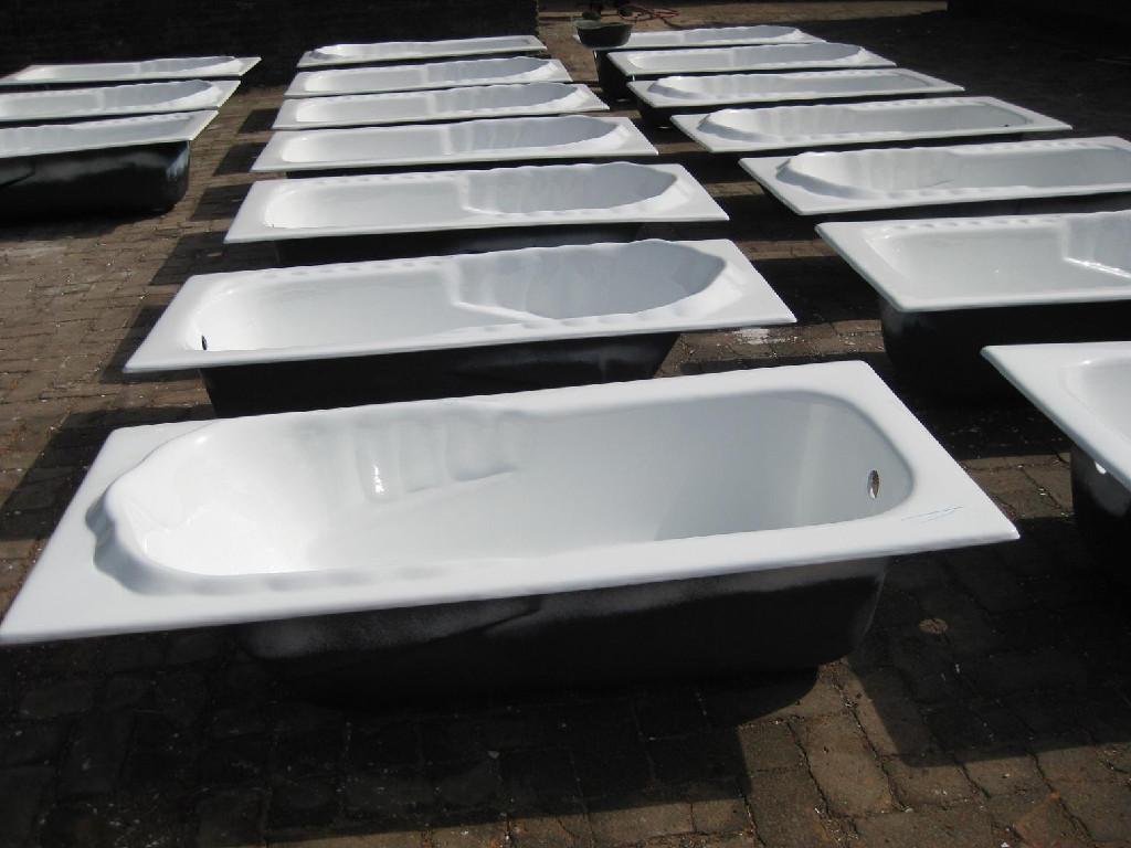 Square built-in cast iron enamel bathtub  5
