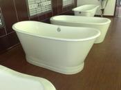 Free-standing cast iron enamel bathtub