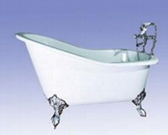 Clawfoot classical cast iron enamel bathtub