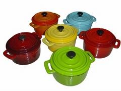 Cast iron enamel mini casseroles cookware cooking pots