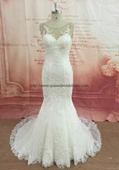 Elegance bateau neckline wedding dress with mermaid