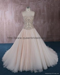 Luxurious strapless  sweetheat A-line wedding dress
