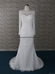 The top of quality scoop neckline wedding dress with long sleeve