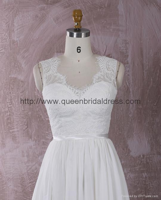 仿古蕾丝雪纺婚纱 2
