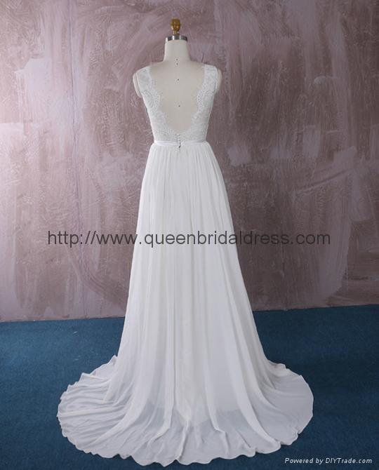 仿古蕾丝雪纺婚纱 4