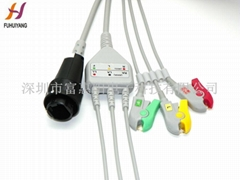 HRS 3leads clip IEC ECG cable with leads