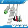 Mindray T5 12pin 5leads snap cable with
