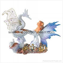 Fairy With Dragon Figurine Polyresin Fairy Crafts