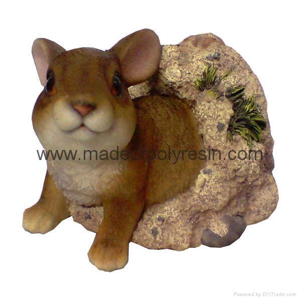 Polyresin Rabbit By Bank Ornament 1