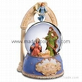 christian snow globes nativity music box