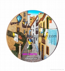 Lisbon Tram Decorative Polyresin Plate - Resin Souvenir D15cm Plaque