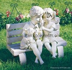 Playing children garden statue, garden crafts