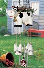 polyresin cow garden decoration planter