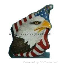 polyresin flag with eagle, resin eagle magnet