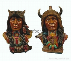Polyresin indian head,resin inian crafts,inian sculpture