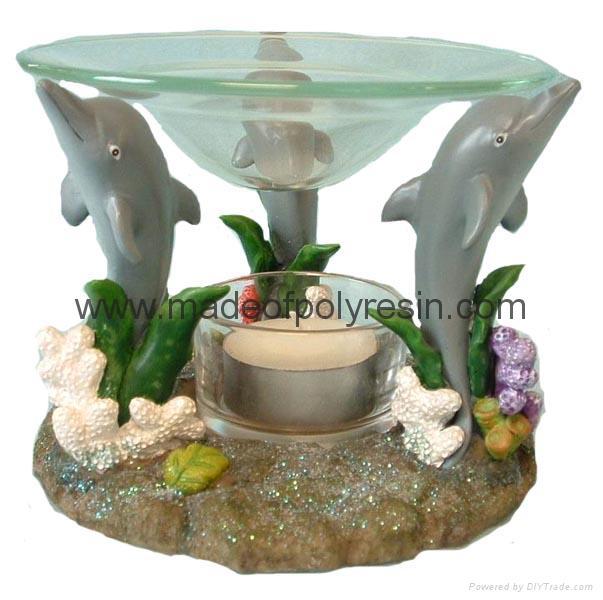 sealife oil burner, poly-resin candle holder 1