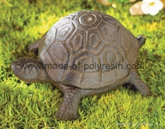 poly-resin turtle garden statue iron color finished