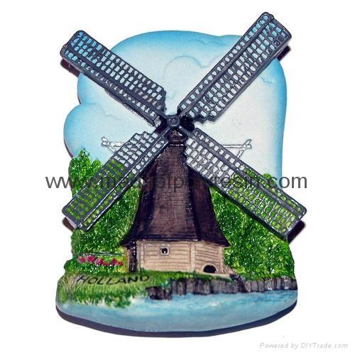 Polyresin Netherlands - Windmill souvenir magnet