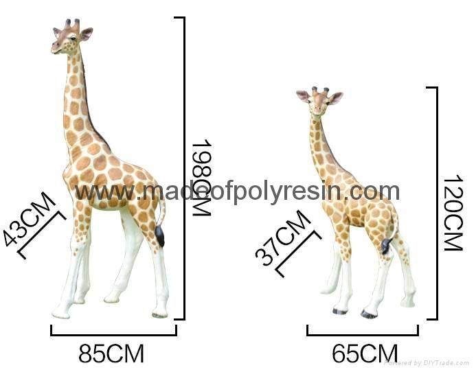 Life size outdoor giraffe of fiberglass statue 1