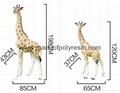 Life size outdoor giraffe of fiberglass statue