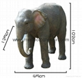 Life size fiber glass elephant of garden