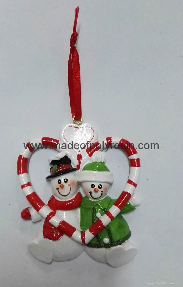 Wholesale Christmas decorative of polyresin snowman ornament 1