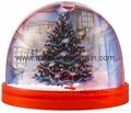Plastic snow globe with snow flake