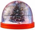 Plastic snow globe with snow flake inside